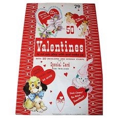 Vintage 50 Uncut Valentines Book with Envelopes Kissing Stamps and Special Teacher Card