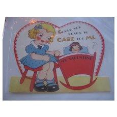 Vintage Valentine Little Girl Rocking Dolly in Cradle
