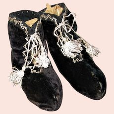 Antique Black Velvet Baby Booties or Shoes