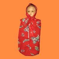 Paper Mache Doll with Pristine Red Scottish Bunting and Bonnet