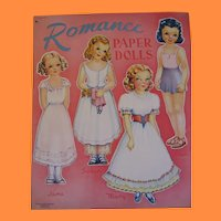 Vintage Romance Paper Dolls Booklet with 8 Pretty Girls