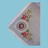 Lovely Ladies Embroidered Roses with Petit Point Center Handkerchief Hankie