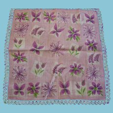 Faith Austin Large Floral Hankie in Lavender Pink and Green