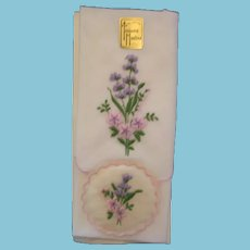 Lovely Embroidered Hankie with Matching Sachet from Switzerland