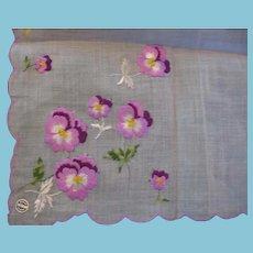 Pretty Purple Petunia Embroidered Hankie from Switzerland