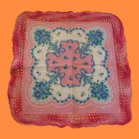 Large Embroidered Edged Hankie with Pretty Flowers