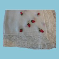 Red Rose Buds and Lace Vintage Hankie