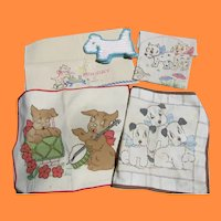 5 Delightful Puppy Themed Needlework Pillow Covers Potholder Towel
