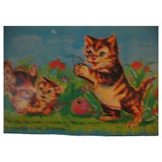 Vintage Squeak Card with Kittens and a Collie