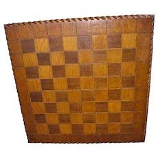 Vintage Handmade Inlaid Wooden Checker Board