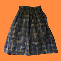 Old Doll Skirt for China Head Early 1900s Blue Plaid