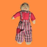 Depression Era Boy Sock Doll with Antique China Button Eyes!!