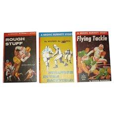 3 Vintage Bronc Burnett Story Books About Football