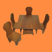Vintage Wooden Table and Chairs for Doll Display Ginny or Nancy Ann Sized