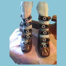 Unique Antique Leather 5 Strap Baby Shoes with Fancy Adornments