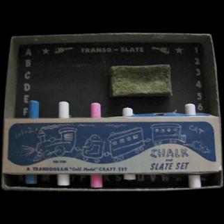 Transogram 1950s Chalk & Slate Set in Original Box