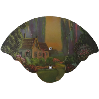 Vintage Hand Held Fan with Enchanted Cottage By R Atkinson Fox