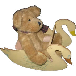 Vintage Toy Doll Sized Wooden Rocking Swan