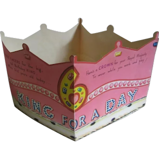 2 Unique Novelty Birthday Cards Crowns for Kids from the 1940s
