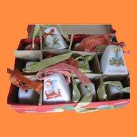Dozen Decorative Miniature China Bells in Original Box