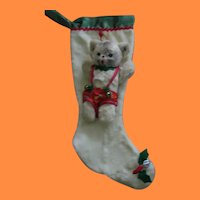 Rare Vintage Christmas Stocking with Teddy Bear by Clare Creations of NYC