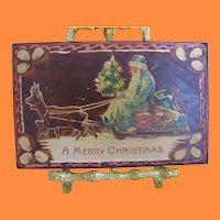 Old Santa in Blue Robe Embossed Postcard