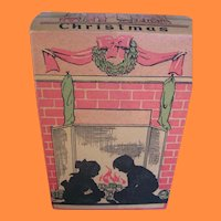 Vintage Christmas Candy Box with Nostalgic Scenes and Silhouettes