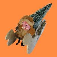 Antique Spun Cotton Santa in Mica Covered Sleigh