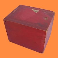 Neat Old Red Wooden Dovetailed Box with Slide Lid