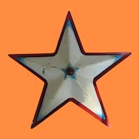 Vintage Metal Lighted Red White and Blue Christmas Star
