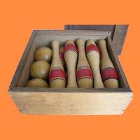 Old Set Jack Horner 10 Pins Game in Original Slide Top Wooden Box