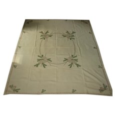 Vintage Handstitched Linen Tablecloth Pine Boughs and Pine Cone Design for Winter Decor