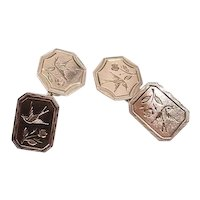 Engraved 9kt rose gold cufflinks, pair of antique cufflinks with engraving of birds and flowers