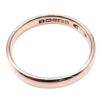 Antique 9kt rose gold plain band, a fine vintage rose gold ring from the 19th century.