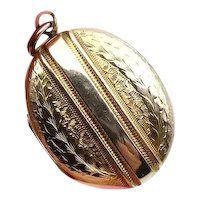 Antique large gold locket, very fine quality 9kt back and front striped locket, from 1800's, engraved gold oval locket.
