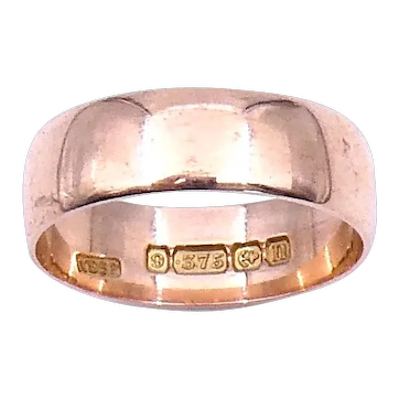 Antique wide 9 ct rose gold band, antique wedding band.