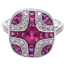 Art Deco style ruby, diamond and 18 karat gold ring.