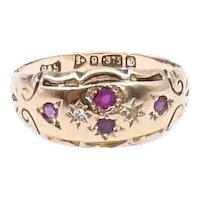 Ruby diamond gypsy ring in 9kt gold, vintage gypsy ring with engraving and an ornate border, hallmarked