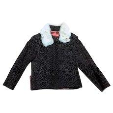 Vintage 1950s Dark Brown Astrakan Jacket with Fur Collar UK Size 12