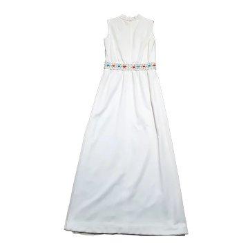 Stunning 1960s Vintage White Beaded Maxi Dress Size 10/12