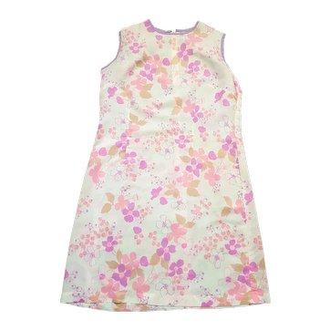 1960s Vintage Sheer Pink Floral Shift Dress Size 16/18
