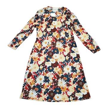 1960s Vintage Dortona Floral Smock Dress with Tags Size 14