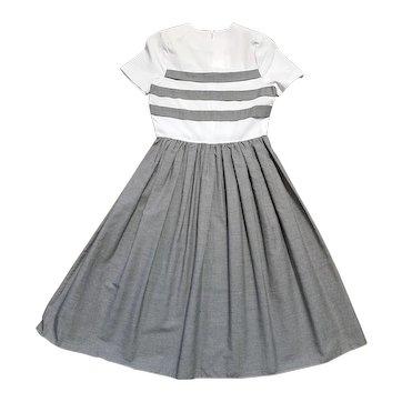 1950s Vintage Black & White Cotton Swing Dress Size 8