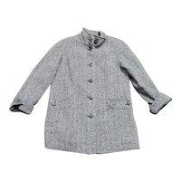 1980s Vintage Monochrome Chevron Knit Coat Size 14