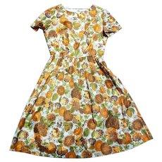 1950s Vintage Autumn Tone Chiffon Swing Dress UK Size 10