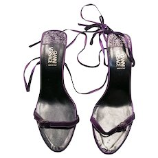 1980s Vintage Versace Purple Strappy Barely There Heels UK 5.5 EUR 38.5