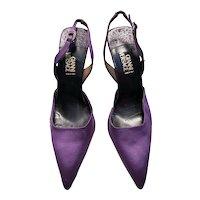 1980s Vintage Versace Purple Satin Slingback Stiletto Heels UK 6.5 EUR 39.5