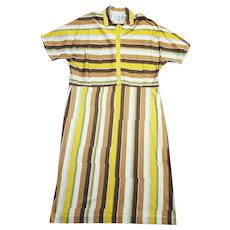 1970s Vintage Mustard Striped Shirtwaister Dress Size 18