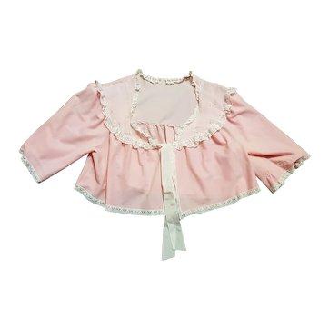 Vintage 50s/60s Pale Pink Lace Trim Bed Jacket