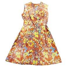 1960s Vintage Flower Power Wrapover Dress UK Size 12